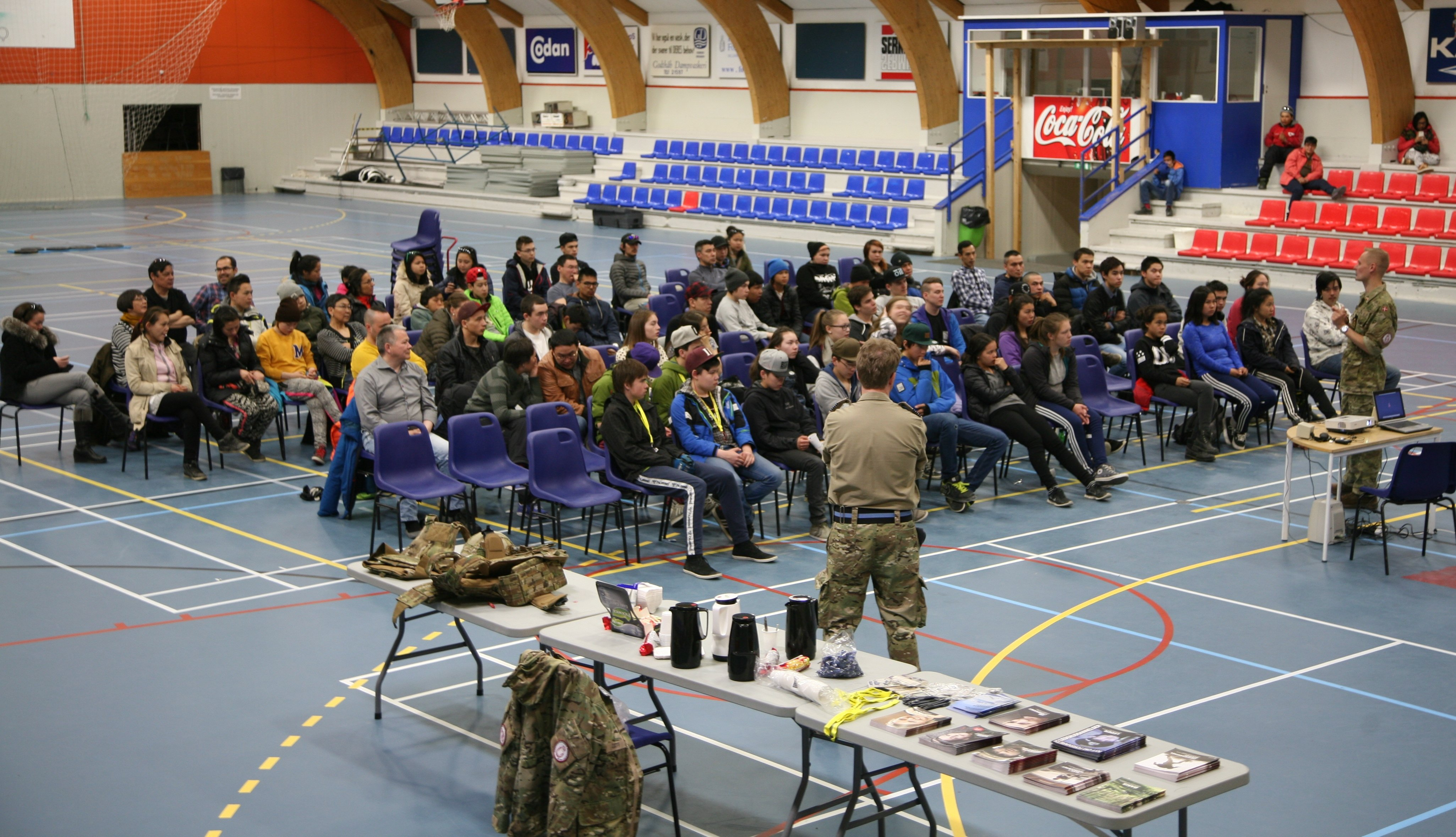 Young Greenlanders listen during a military information session in Nuuk last year. Recruiting more Greenlanders has become a priority for the military as the Arctic takes on increasing importance (Ronny Rasmussen)