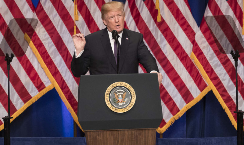 President Donald J. Trump unveils his new national security strategy during a speech in Washington, D.C., Dec. 18, 2017. (Joyce N. Boghosian via High North News)