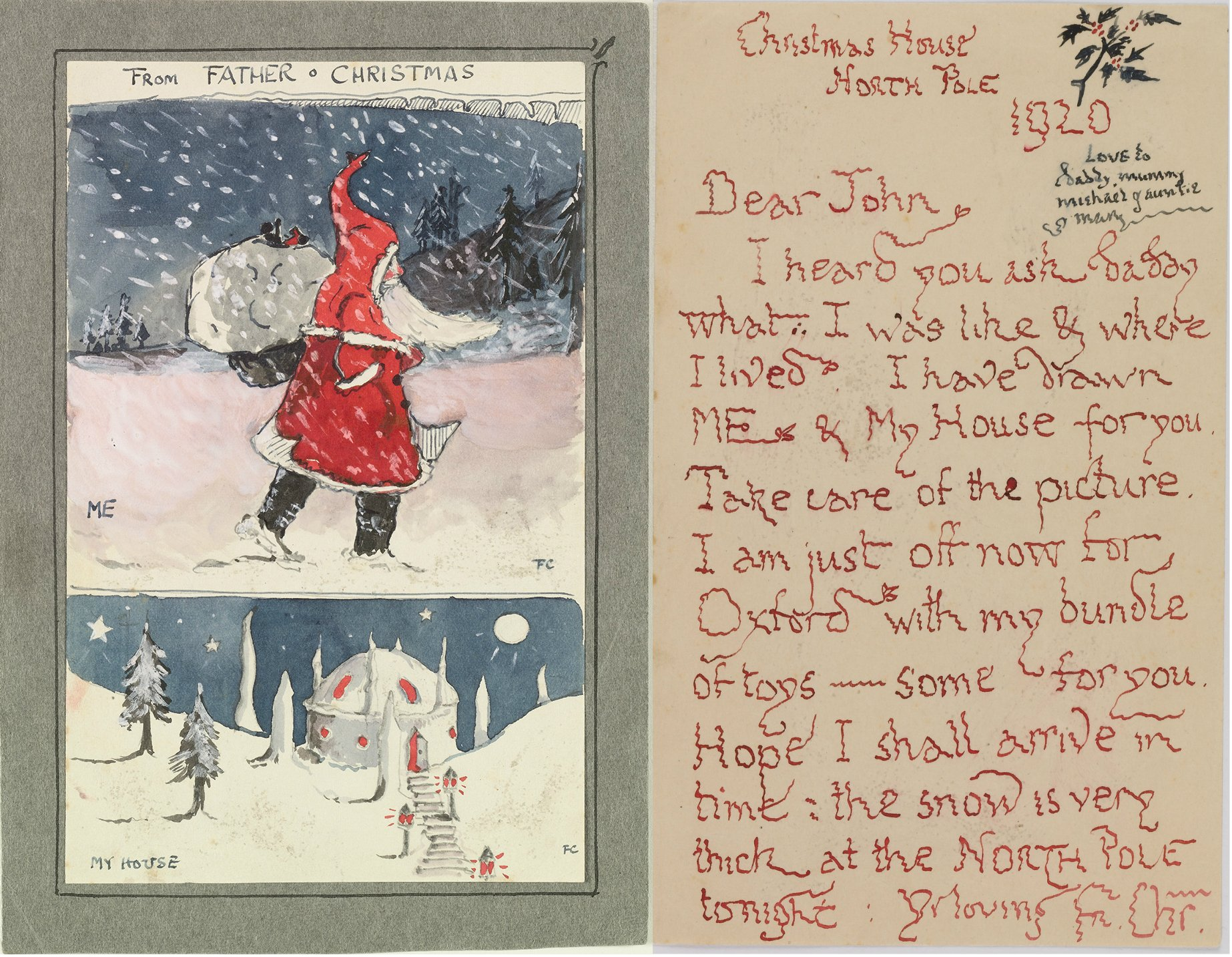 Tolkien's first letter and illustration from Father Christmas, 1920. (Copyright The Tolkien Estate Ltd, 1976.)