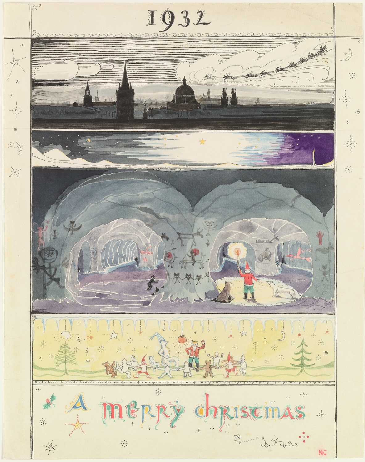 Christmas, 1932: 'The caves are wonderful. I knew they were there, but not how many or how big they were. Of course the goblins went off into the deepest holes and corners, and we soon found Polar Bear. He was getting quite long and thin with hunger, as he had been in the caves about a fortnight … At the top of my 'Christmas card' is a picture, imaginary, but more or less as it really is, of me arriving over Oxford. Your house is just about where the three little black points stick up out of the shadow at the right.' (Copyright The Tolkien Estate Ltd, 1976.)