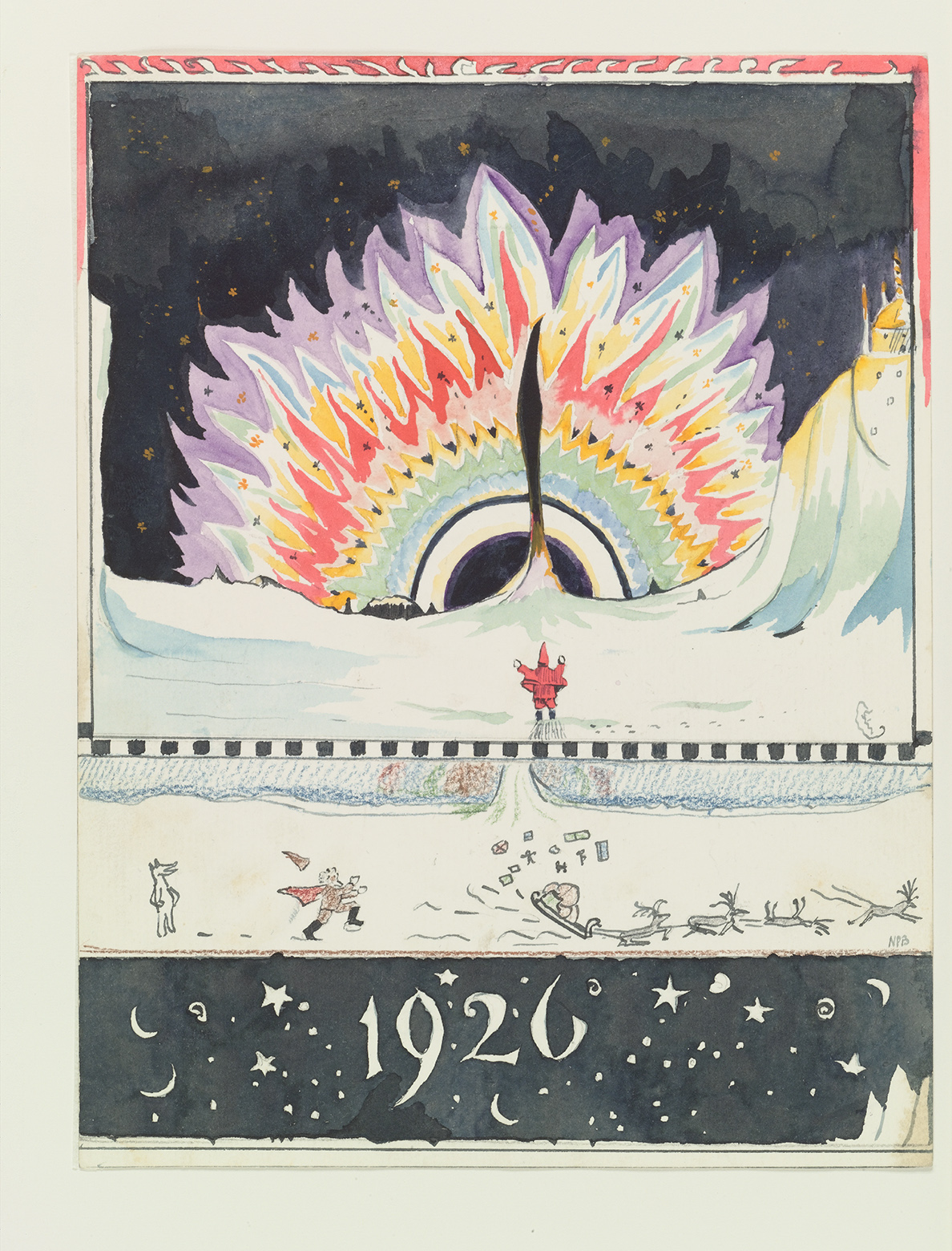 The aurora borealis, 1926: 'Isn't the North Polar Bear silly? … [he] turned on all the Northern Lights for two years in one go. You have never heard or seen anything like it. I have tried to draw a picture of it: but I am too shaky to do it properly and you can't paint fizzing light can you?' (Copyright The Tolkien Estate Ltd, 1976.)