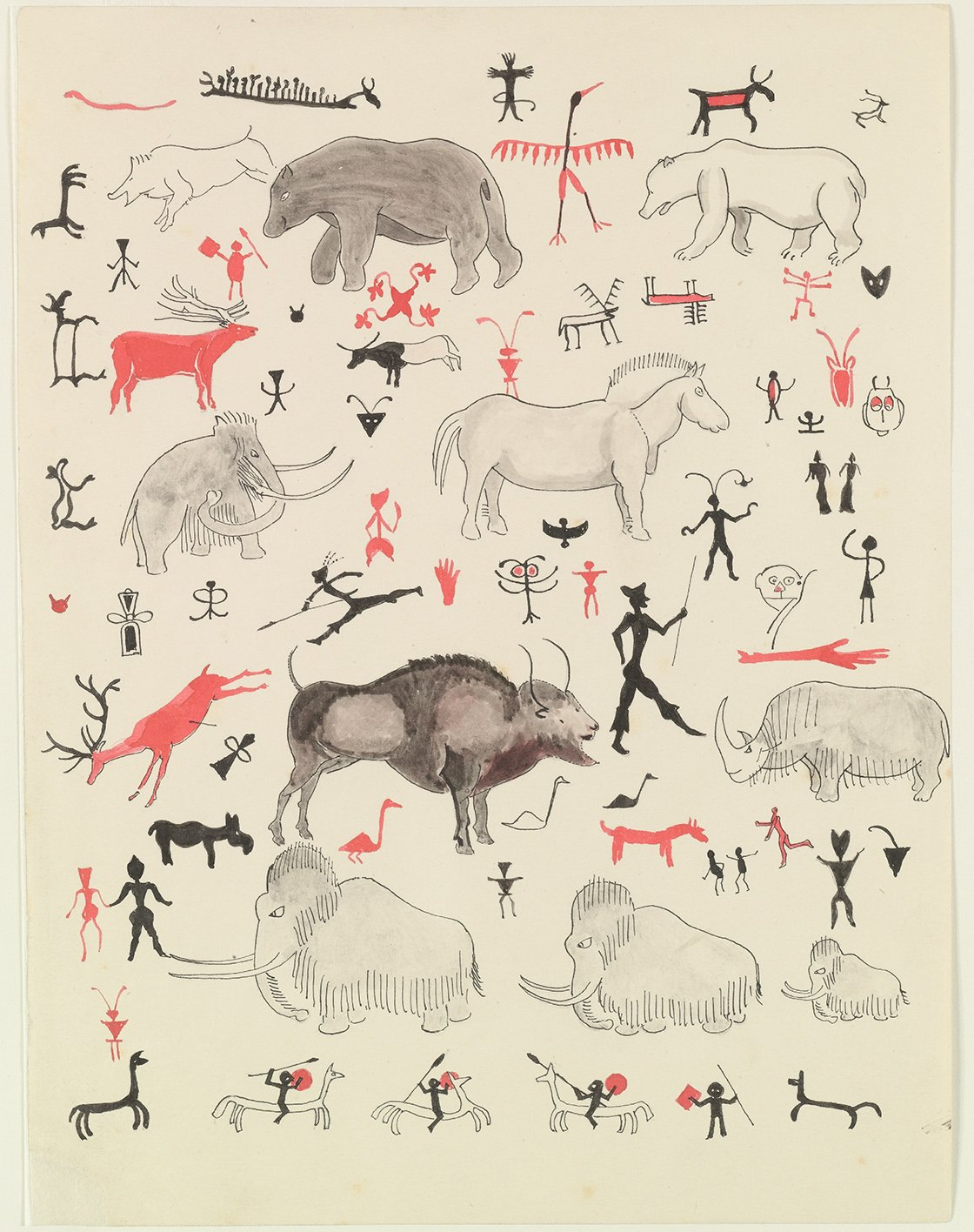 Cave drawings, 1932: 'Polar Bear himself was astonished when I brought light; for the most remarkable thing is that the walls of these caves are all covered with pictures, cut into the rock or painted on in red and brown and black. Some of them are very good (mostly of animals), and some are queer and some bad; and there are many strange marks, signs and scribbles, some of which have a nasty look.' (Copyright The Tolkien Estate Ltd, 1976.)