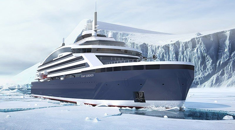 When completed, the Ponant Icebreaker will be the first cruise ship with a PC 2 ice class rating. (Illustration courtesy Stirling Design International via The Independent Barents Observer)