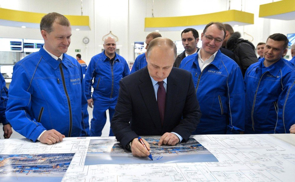 Vladimir Putin in early December visited the Yamal LNG plant, which accounts for a major share of Russian Arctic shipping. (Kremlin.ru via The Independent Barents Observer)