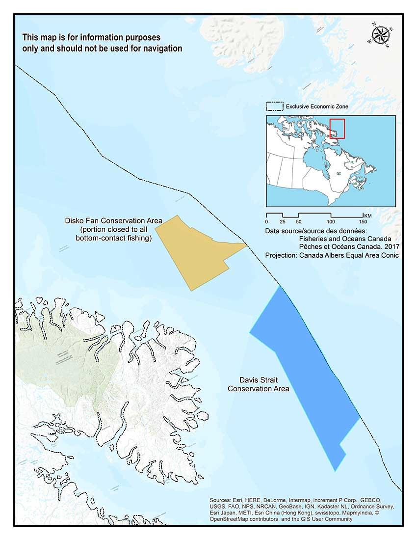 Map Of Canada Davis Strait.Canadian Federal Regulators Ban Bottom Trawling In Nunavut S Three