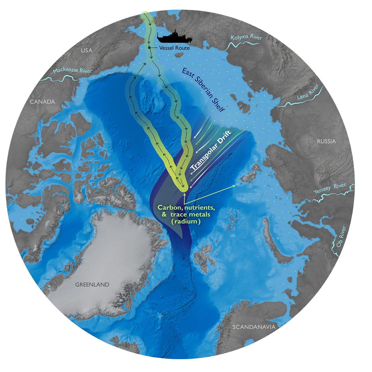 A map showing the path of sediment from coastal Russia to the central Arctic Ocean. The yellow band indicates the route of the research expedition aboard the USS Healy. (Natalie Renier / Woods Hole Oceanographic Institution)