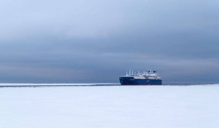 "LNG carrier ""Christophe de Margerie"" on its way to the Ob Bay. (Rosmorport.ru via The Independent Barents Observer)"