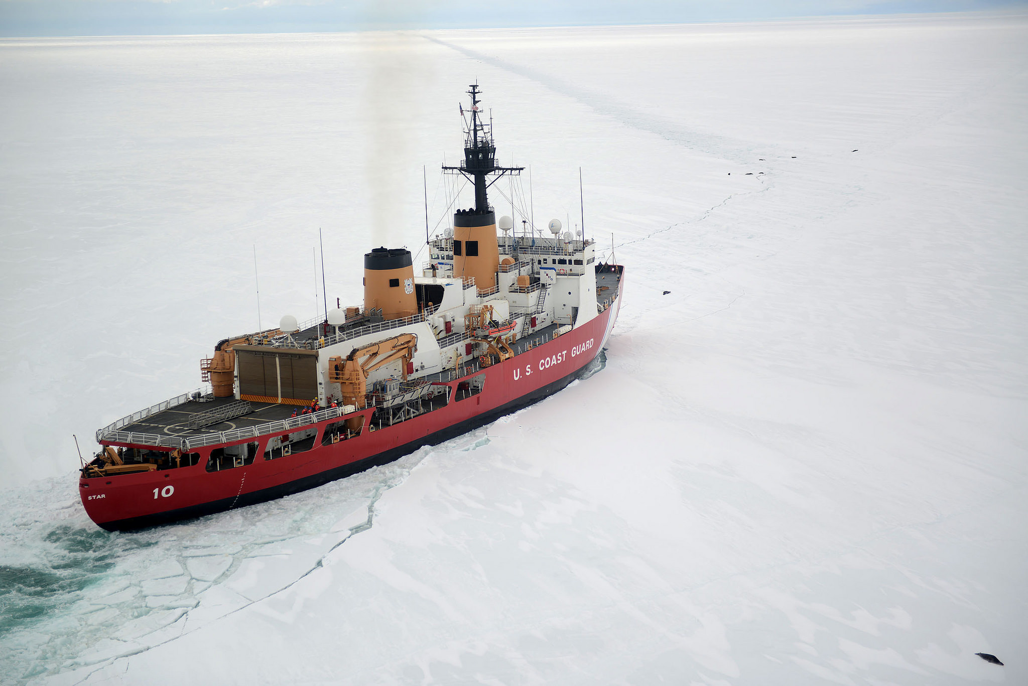 1250e20a5f8 The Coast Guard Cutter Polar Star cuts through Antarctic ice in the Ross  Sea to create a navigation channel for supply ships, Jan. 16, 2017.