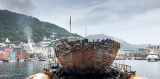 A century after leaving Norway, Amundsen's polar exploration vessel 'Maud' returns home