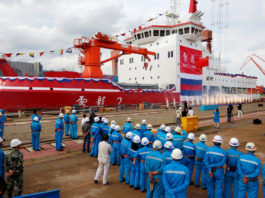 China launches its first domestically built icebreaker