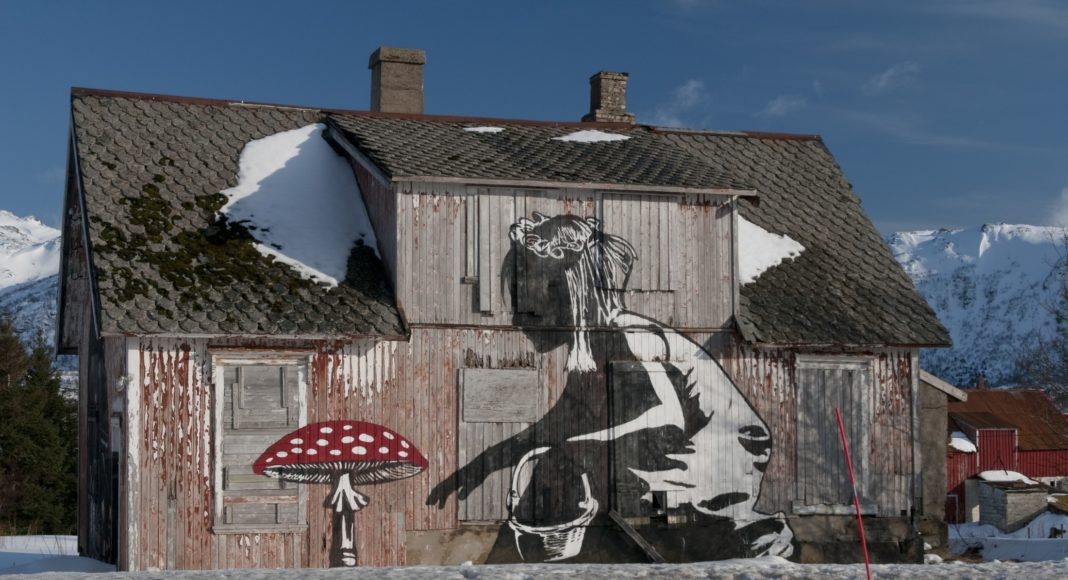 "Street art such as ""Mushroom Girl"" can be seen in Borg on the island of Vestvågøya. (CH / Visit Norway)"