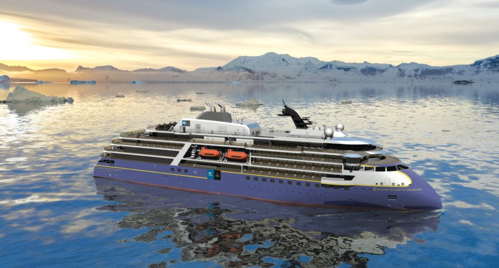 """Lindblad Expeditions """"National Geographic Endurance"""" will have an inverted X-Bow for smoother sailing."""