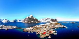 The winter scene in Lofoten