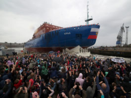 Russia launches the another ship in its powerful new series of nuclear icebreakers