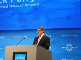U.S. Energy Secretary Perry praises Arctic oil and gas potential, while emphasizing energy geopolitics