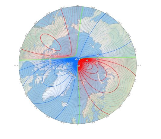 The magnetic North Pole is still moving toward Russia, but has slowed its pace