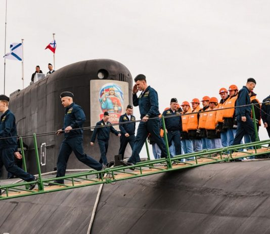 A Russian Arctic naval base welcomes a new ballistic missile submarine