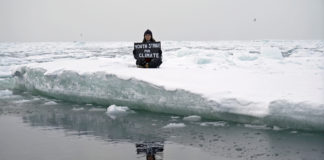 A teenage British activist stages a climate protest on an Arctic ice floe