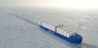 Against backdrop of Suez blockage, Finnish designer presents an icebreaking container ship for shorter Arctic routes