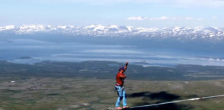 Tightrope walkers set a world record high above a Swedish Arctic valley