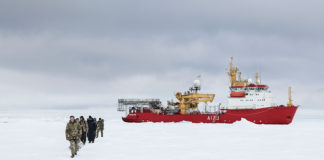 A UK research vessel has set a new record for the Royal Navy's northernmost surface voyage