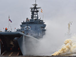 Russian marines stage an exercise in re-capturing an Arctic port