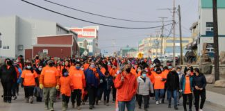 Iqaluit streets turn orange during inaugural reconciliation walk